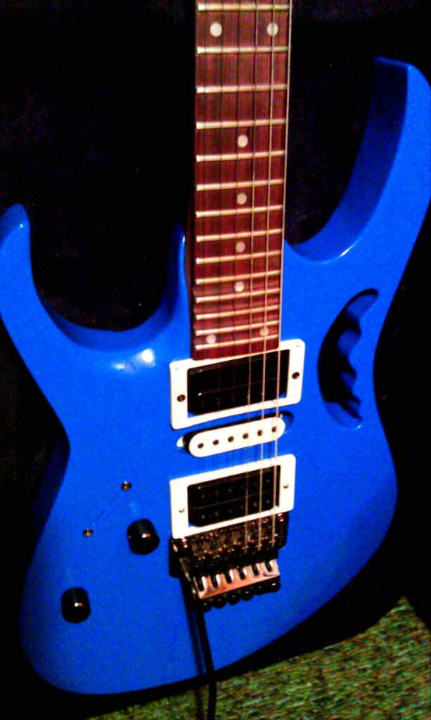 Jem 555 Style Left Handed, Brillant Blue, Dot Inlay.